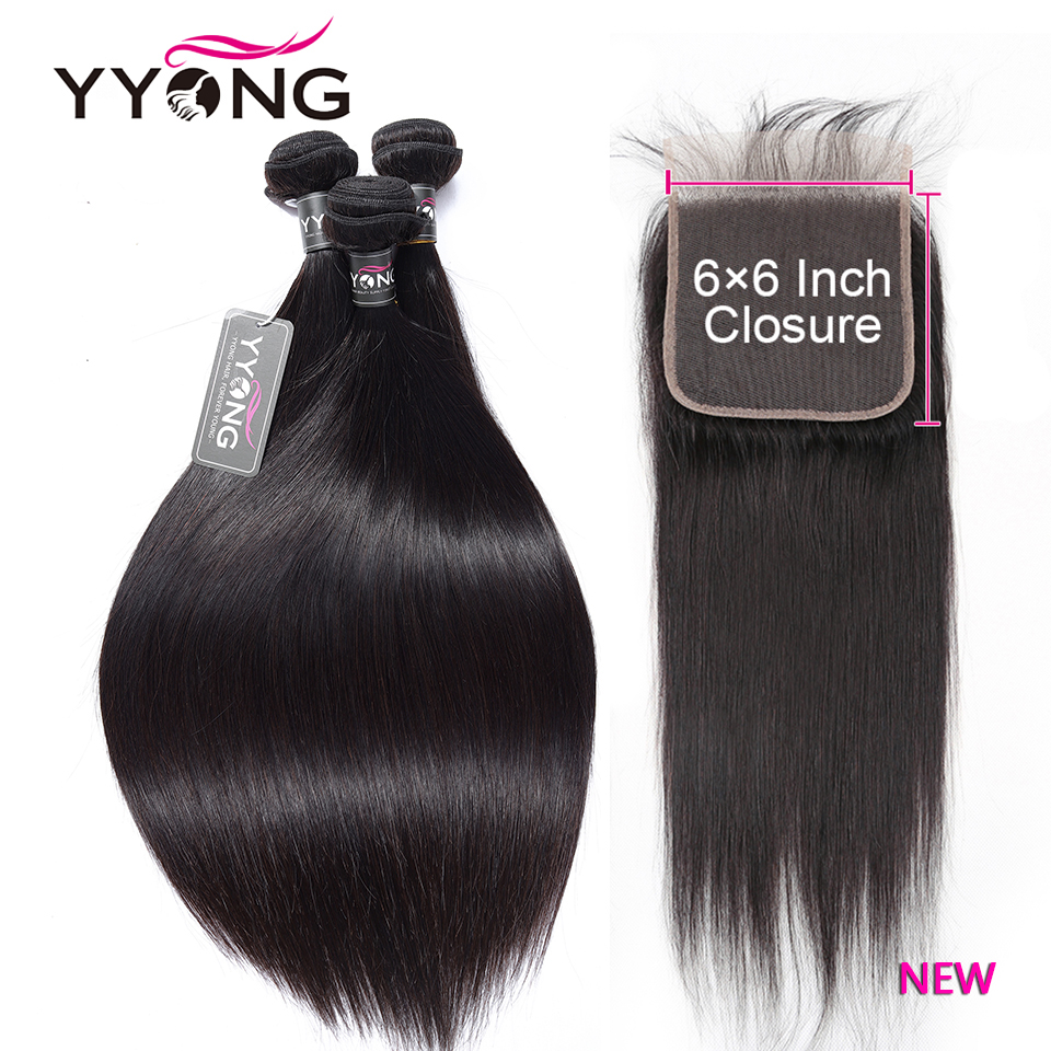 YYong Straight Hair Bundles With 6x6 Lace Closure     Bundles With Closure Hair  1