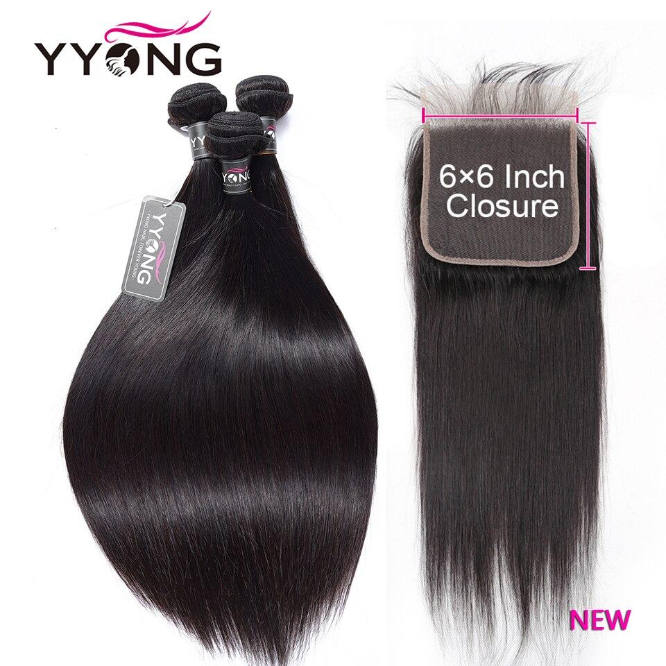 YYong прямые волосы пряди с 6x6 кружева закрытие волос Реми бразильские натуральные кудрявые пучки волос пряди с закрытием наращивание волос