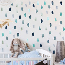 25 pçs watercolor rosa azul pintura cursos 5x10cm adesivos de parede para o berçário do bebê decoração decalques de parede quarto casca adesivos