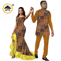 African Clothes for Couples African Dresses for Women and Men Suits Matching Couple Clothing Africa Ankara Print Clothes S20C009
