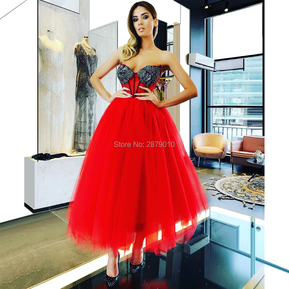 The 2019 A-Line Sweetheart Strapless Dress Red Party Dress  Formal Tulle Dresses Beaded Prom GraduationParty Dress
