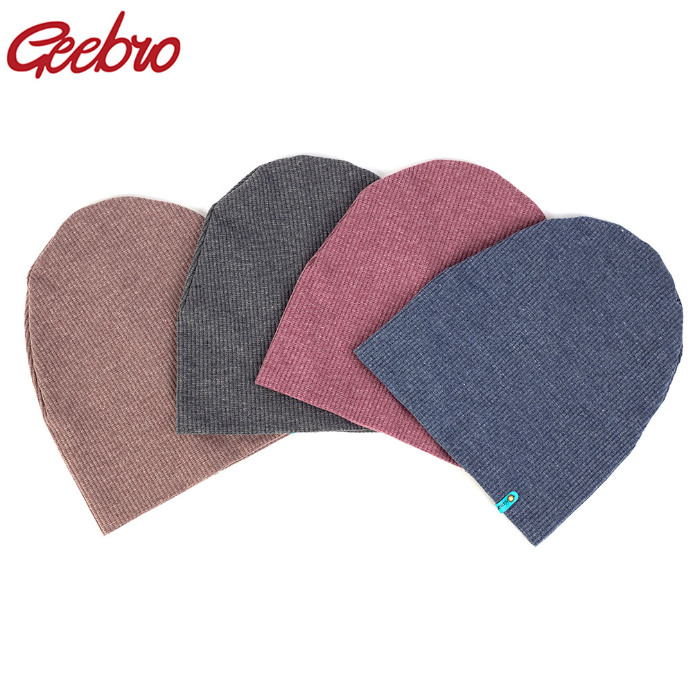 Geebro Women Stripe Beanie Hats For Ladies 2019 New Slouchy Cotton Kintted Beanie Skullies Cap Warm Bonnet Christmas Gifts