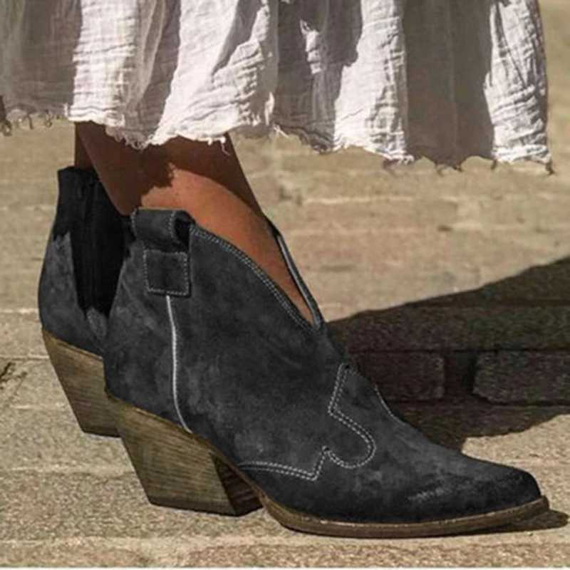 CYSINCOS 2019 ฤดูใบไม้ร่วงผู้หญิงรองเท้าข้อเท้าลึก V รูปร่าง Pointed Toe Zip VINTAGE แฟชั่นรองเท้าสุภาพสตรีแพลตฟอร์ม Chunky ส้น
