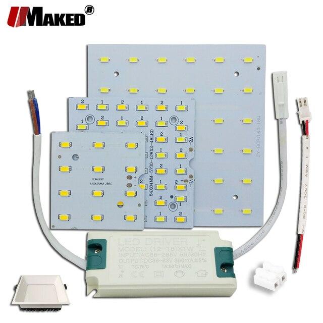 1/5 セット LED PCB + ドライバキット 6 ワット 12 ワット 18 ワット Led ダウンライトアルミヒートシンク SMD5730 110lm/w 正方形の光源のためのパネルランプ