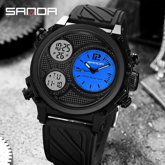 SANDA Top Brand Luxury Sports Men's Watches Waterproof Military Quartz Watch For Men Wristwatch Clock relogio masculino 3002
