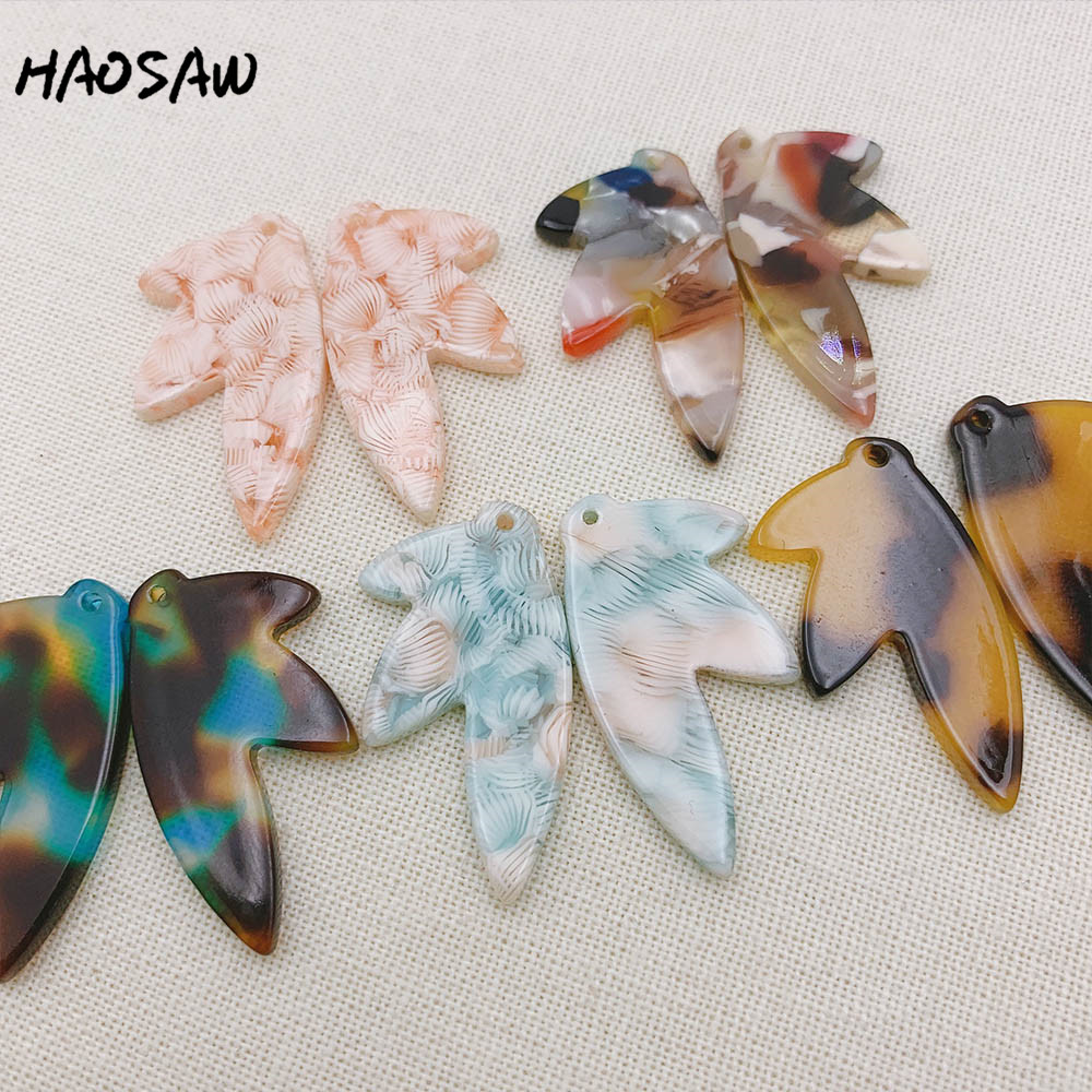 HAOSAW 17*30MM 6Pcs/Lot Spring Color Acetic Acid Parts/Leaf Shape/Jewelry Findings/Earrings Accessories/Handmade Making