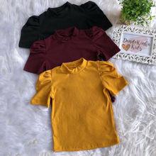 От 1 до 6 лет детский однотонный топ для маленьких девочек, пуловер с короткими рукавами из хлопка, футболка, трикотажная футболка