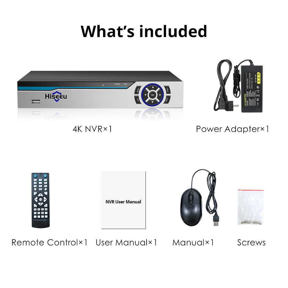 Hiseue 4K 8CH POE NVR ONVIF H.265 grabadora de vídeo de vigilancia de salida de Audio de 3,5mm para cámara IP POE (1080 P/4MP/5MP/8MP/4 K)