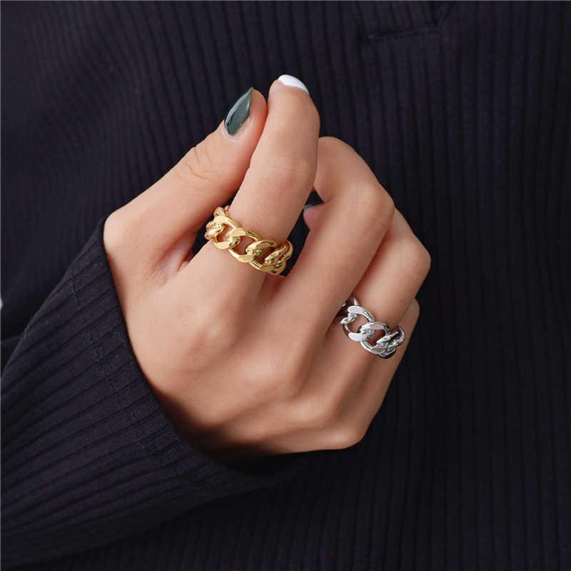 Peri'sBox เงินทอง Chunky CHAIN แหวน Link Twisted แหวนเรขาคณิตสำหรับผู้หญิง VINTAGE เปิดแหวนปรับ 2019 อินเทรนด์