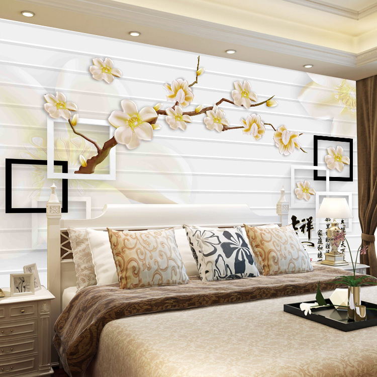 Chinese Style 3D TV Backdrop Mural Modern Minimalist Living Room Bedroom Film And Television Wall Wallpaper Nonwoven Fabric