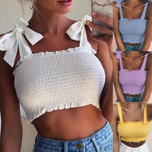 2020 New Summer Women Sexy Sleeveless Slim Ruffled Bandage Vest Solid Color Tank Crop Top Female Sexy Summer Beach Crop Tops