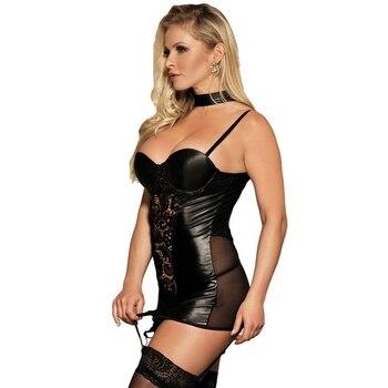 Women Sexy Faux Leather lingerie bodysuit PVC wetlook latex catsuit erotic Wear Pole Dance nightwear Hot fetish Mesh Clubwear 2