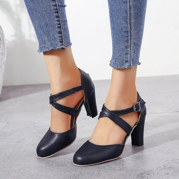 EOEODOIT Women High Heel Shoes Leather Shoes Fashion Square Heel Round Toe Cross Leather Belted Plus Size Retro Shoes