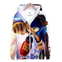 Sonic 3d nova moda zíper hoodies casual manga longa moletom 3d menino/menina roupas 2019 pai-filho fino estilo dos desenhos animados casaco