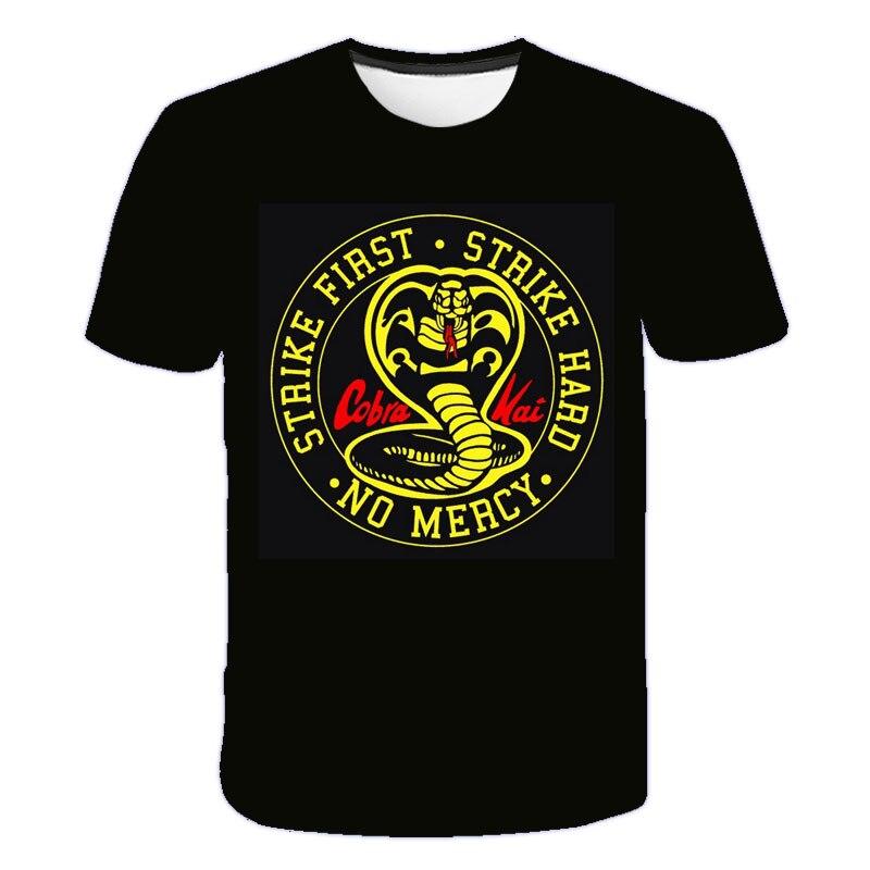 Camiseta engraçado do poliéster do o-pescoço dos adolescentes das camisetas da cobra da cópia 3d cobra kai criança tshirt grandes meninos e meninas 4 a 14 anos