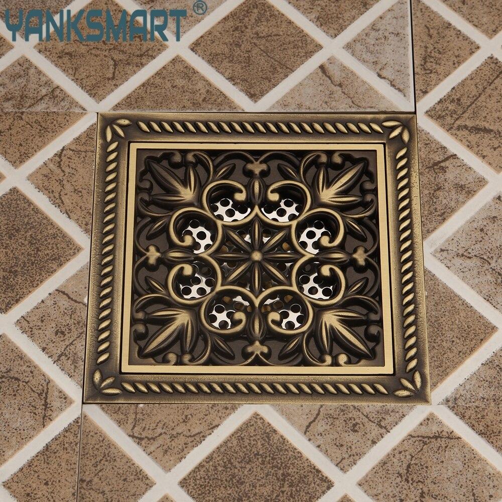 Drain de sol salle de bain Bouchon Evier facile à nettoyer Antique en laiton Drain de sol Art ménager sculpté douche carré Drain