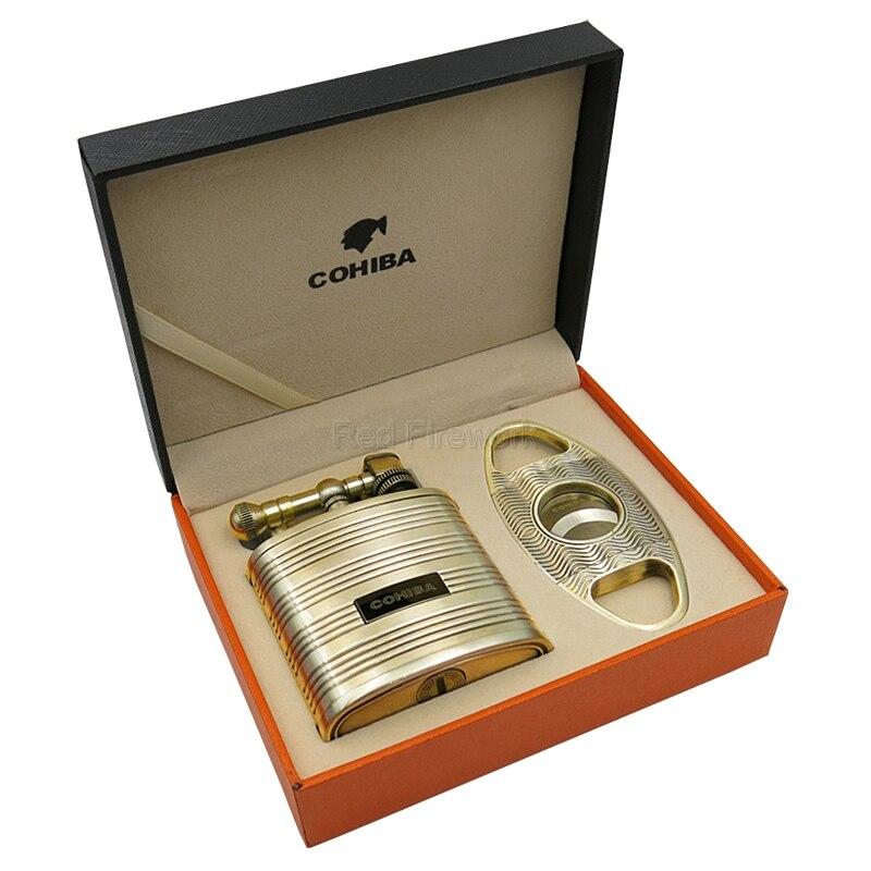 COHIBA profesjonalne 2 Torch Jet Flame Cigar zapalniczki wiatroszczelna i Super ostry nóż zestaw upominków biznesowych w Akcesoria do cygar od Dom i ogród na AliExpress - 11.11_Double 11Singles' Day 1