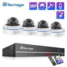 Techage H.265 8CH 5MP HD POE NVR ערכת POE CCTV מערכת אודיו מיקרופון כיפת IP מצלמה מקורה P2P וידאו אבטחה מעקב סט