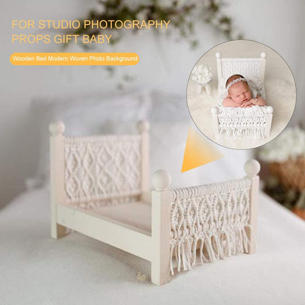 Baby Props Baby Crib Cot Detachable Furniture with Tassels for Studio Home