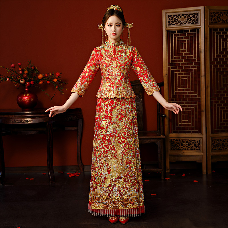 Wedding Dress 2019 Cross Border New Style Chinese Traditional Wedding Dress Chinese Style Bride Marriage Dress For Toast Cheongs