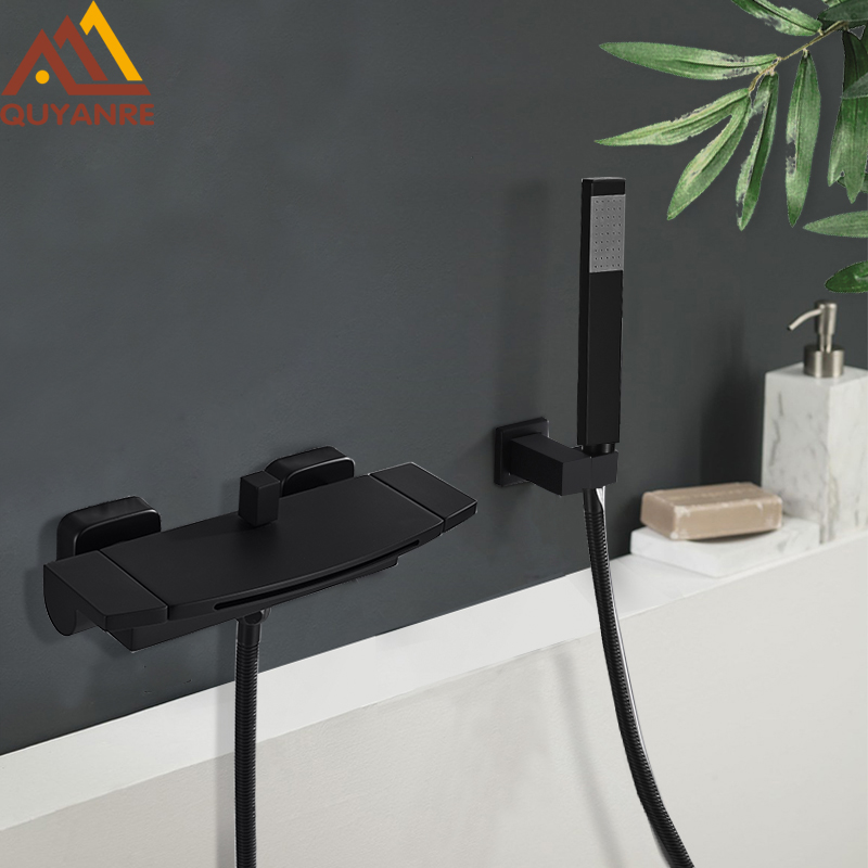 Quyanre Black Waterfall Bathtub Shower Faucets Wall Mount Shower Mixer Tap Faucets Hot Cold Bath Shower Tap BaRobinet Baignoire