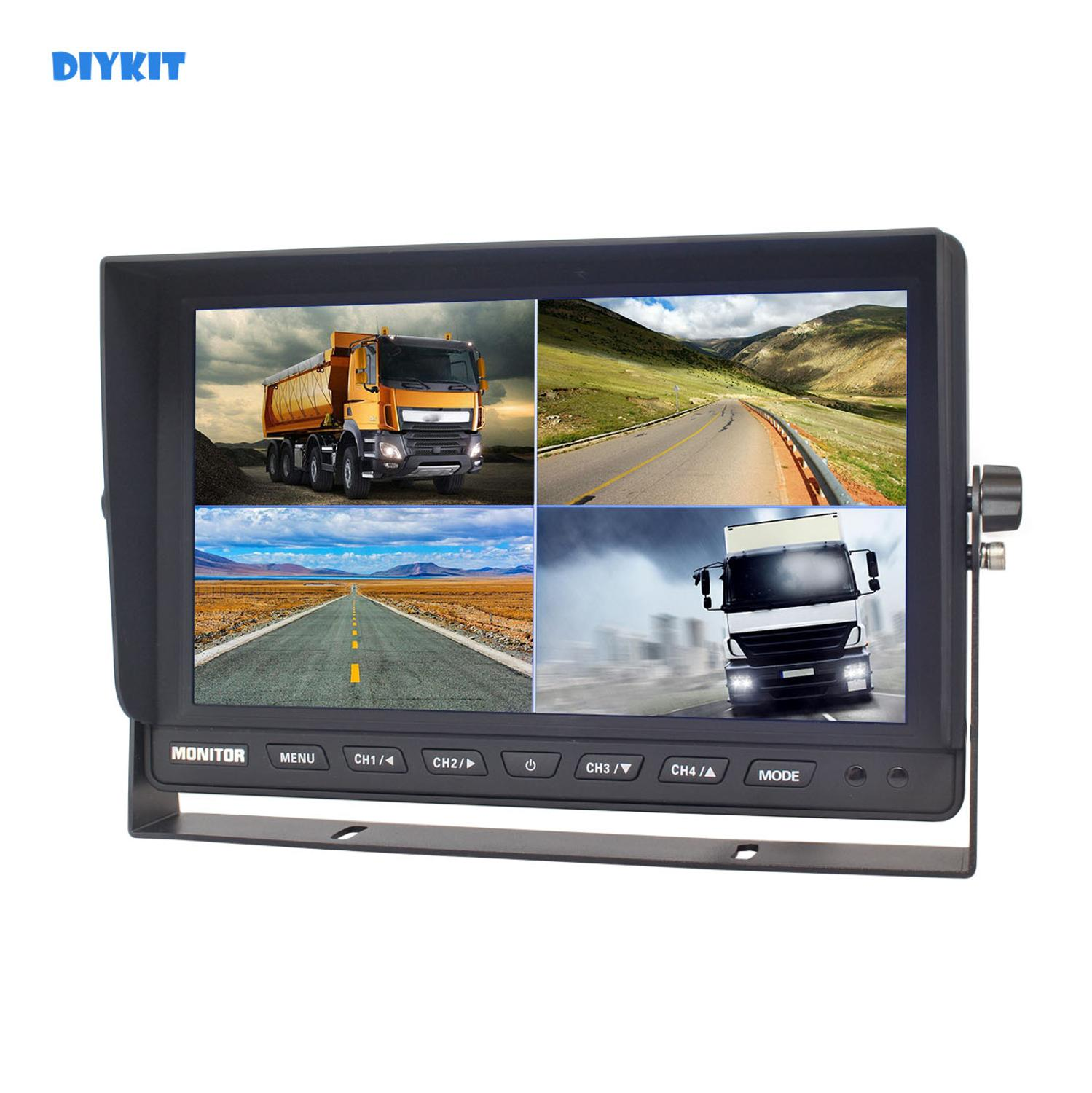 DIYKIT 10 Inch Split Quad Display Color Rear View Monitor Car Monitor for Car Truck Bus Reversing Cameracar monitor touchscreencar pc touch screen monitorcars monitor -