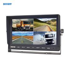 DIYKIT 10 Inch Split Quad Display Color Rear View Monitor Car Monitor for Car Truck Bus Reversing Camera