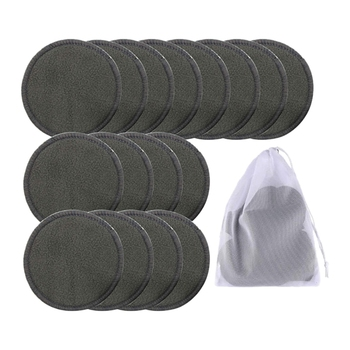 16Pcs Reusable Bamboo Cotton Make Up Remover Pads Washable Triple Layer Facial Skin Care Wipe Pads Cleaning Pad with Bag 1