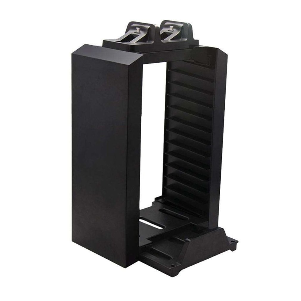 Black Color Game Disk Tower Vertical Stand for PS4 DualShock Controller Charging Dock Station for PlayStation 4 PRO Slim image