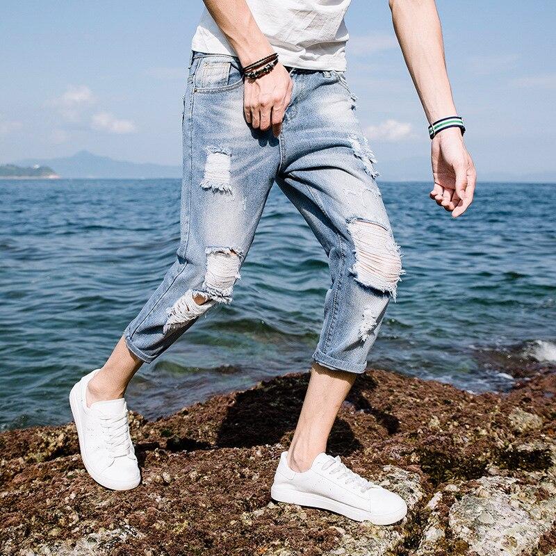 2019 Summer With Holes Capri Jeans Men's Slim Fit Pants 7 Points Denim Shorts Men's Capris Korean-style Trend