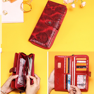 Image 4 - Billeteras de piel de cocodrilo rojo para mujer, bolso de mano femenino, tarjetero Rfid, billeteras teléfono móvil de lujo, monedero, billetera de bolsillo para monedas