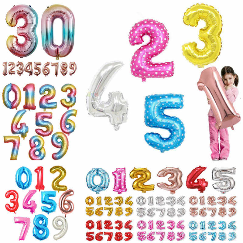 High Quality 32 inch Number Balloon Blue Pink Gold Number Foil Balloons Baby Shower Happy Birthday Party Wedding Balloons Globos