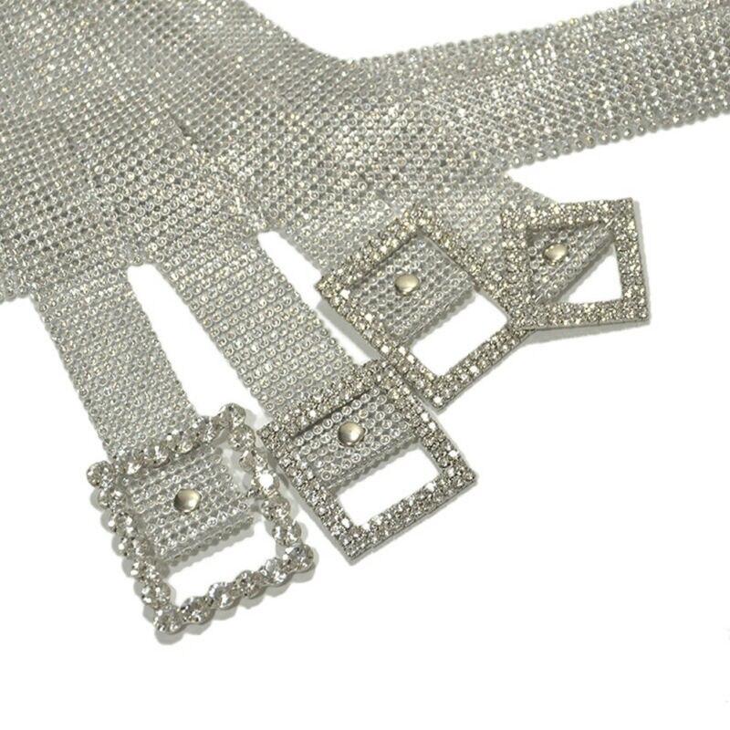 Meihuida Women Fashion Shiny Belt Waist Chain Crystal Diamond Alloy Waistband Full Rhinestone Luxury Wide Party Belt 4
