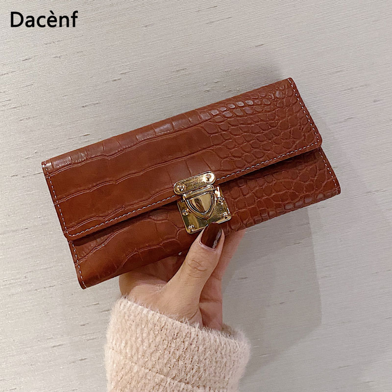 Leather Long Wallets For Women 2020 Vintage Long Purse Female Money Bags Folding Coins Bag Card Holding Wallets