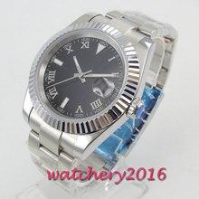 40mm Parnis Schwarz zifferblatt Gebürstet edelstahl Gehäuse saphirglas Miyota 8215 Bewegung Hand Wind Mechanische herren Uhr