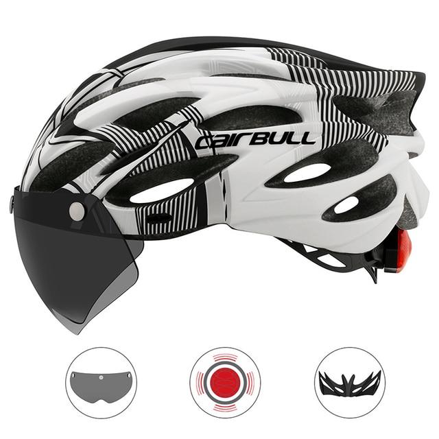 Cairbull ultraleve ciclismo intergralmente-moldado capacete de estrada mountain bike equitação capacete com viseira removível óculos de bicicleta taillig 2