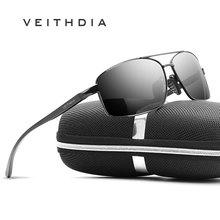 Мужские винтажные солнцезащитные очки VEITHDIA, с поляризационными стеклами в алюминиевой оправе, модель 2458