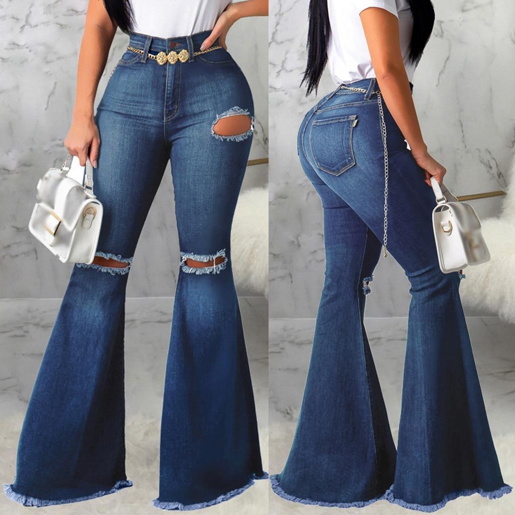 Pantalones De Mezclilla De Moda De Primavera Para Mujer Pantalones De Mezclilla Ajustados Rasgados De Cintura Alta Vaqueros Elasticos De Las Senoras Pantalones Ajustados Del Lapiz Nuevo 2020 Pantalones Vaqueros Aliexpress