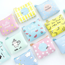 1 pc PU Cartoon Animal Fruit Coin Purses Women Mini Wallets Card Holder Key Money Bags Girls Purse Pouch