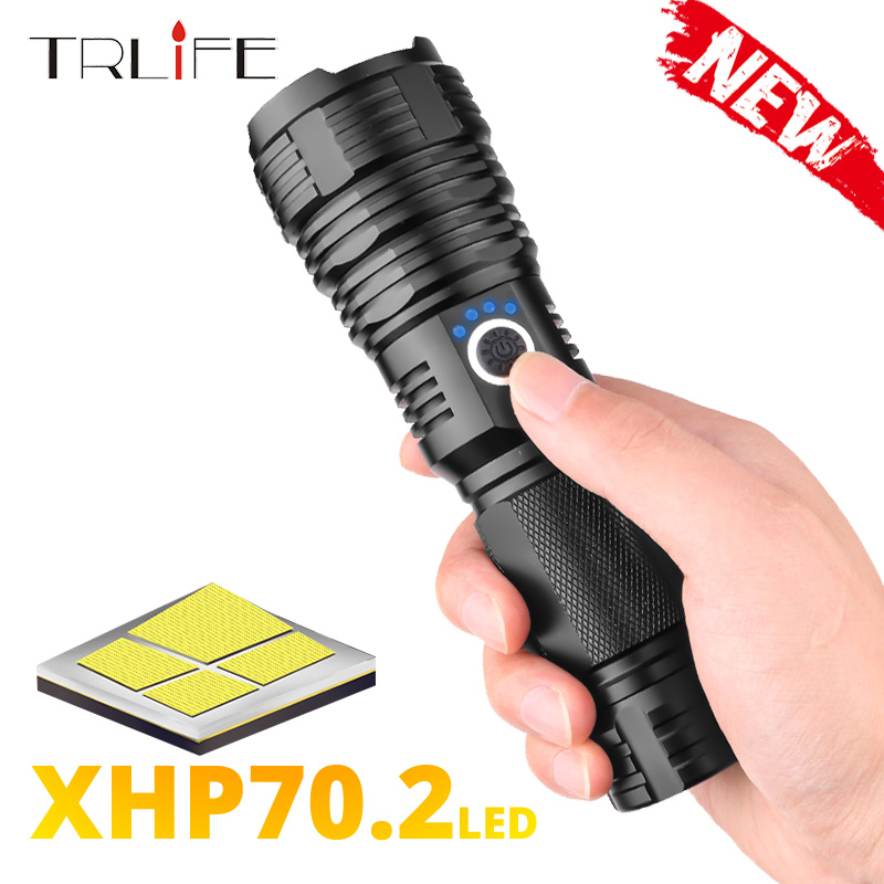 Newest Super Brightl XHP70.2 LED Flashlight XHP50 Rechargeable USB Zoomable Torch XHP70 18650 26650 Hunting Lamp For Camping