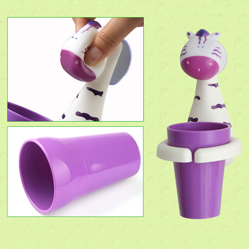 Cartoon Suction Cup Toothbrush Holder Baby Kids Toothbrush Sucker Cup cute Animals tiger design Children's toothbrush cup image