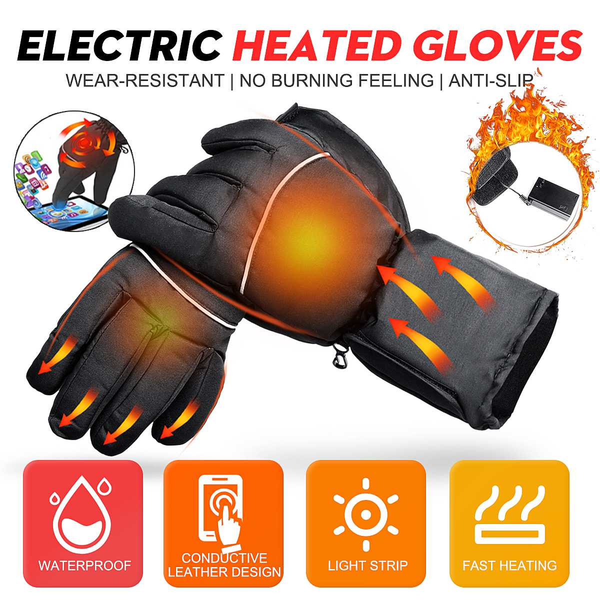 1 Pair Battery Electric Heated Gloves Winter Warm Hand Waterproof Used For Touch Screen Skiing Gloves Polyester