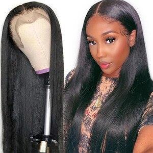 Image 2 - 13x4 dantel ön İnsan saç peruk ön koparıp Remy brezilyalı düz 4x4 kapatma peruk kadınlar için bebek saç 180% yoğunluklu 30 inç
