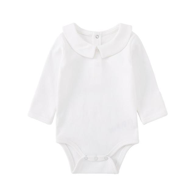 Pureborn Newborn Baby Bodysuit Solid Basic Baby Onesies Long Sleeve Jumpsuit Peter pan Collar Cotton Baptism Onesies Playsuit