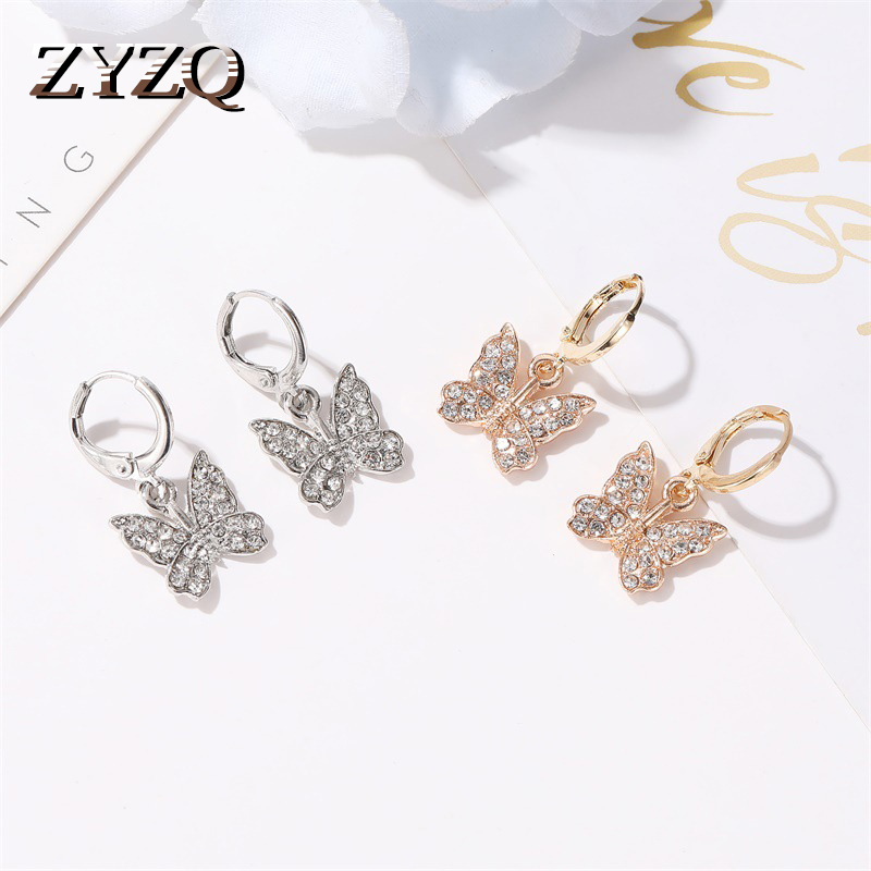 ZYZQ Elegant Animal Series Earrings For Women Cute Butterfly SHaped Pendant Drop Earrings With Micro Paved Fashion Jewel Earring