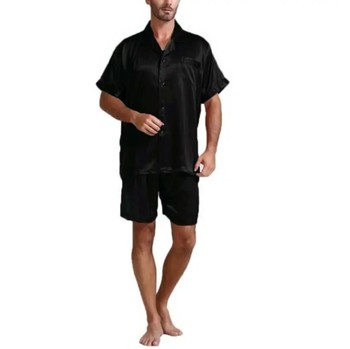 Men Fahion Summer 2Pcs Pajamas Suits Sets Satin Silk Short Sleeve Sleepwear Nightwear Homewear Tops+pants