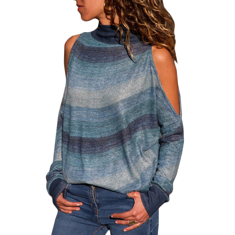 9 COLOR 5 SIZE Autumn Sexy Turtleneck Cold Shoulder Knitted Sweater Casual Print Loose Long Sleeve Jumper Ladies Sweater
