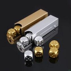 5 uds., 16mm, cubos de aleación de aluminio, Metal poliédrico, sólido, portátil, fiesta de póker de dados