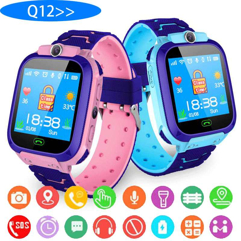 Q12 Smart Uhr LBS Kind SmartWatches Baby Uhr 1,44 Zoll Voice-Chat GPS Finder Locator Tracker Anti Verloren Monitor mit box