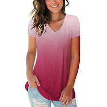 Womens Fashion Plus Size Gradient Color V-Neck Short Sleeve T-shirt Tops